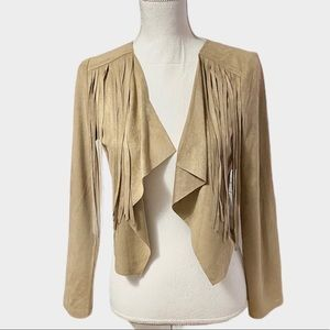Dreams SOFT Tan Suede Fringe Boho Jacket Hippie XS